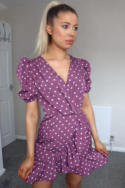 Mauve Polka Dot Puff Sleeve Mini Dress