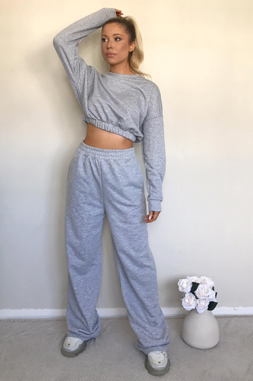 Grey Long Sleeve Cropped Sweater