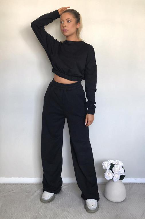 Black Straight Leg Sweat Trousers