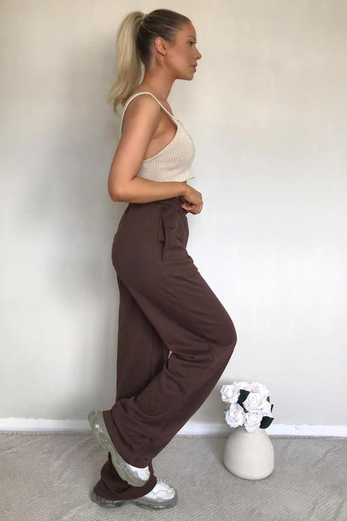Chocolate Straight Leg Sweat Trousers