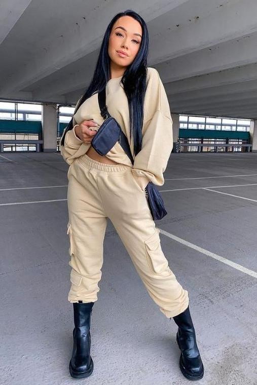 Beige Cargo Sweat Trousers