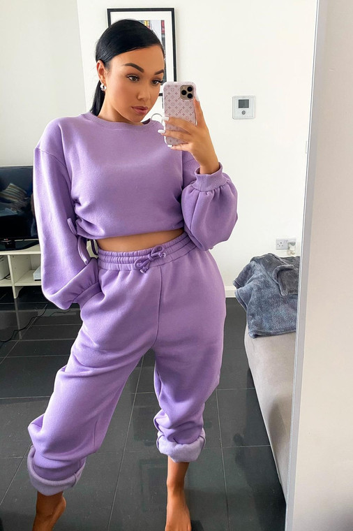 (SET) New Mauve Drawstring Detail Top and Bottom Loungewear Set