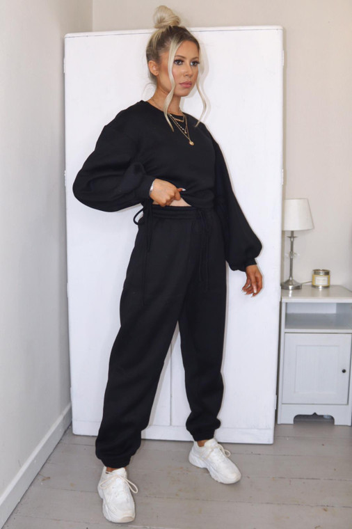 (SET) New Black Drawstring Detail Top and Bottom Loungewear Set