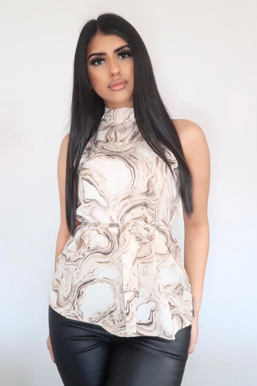 Beige Print High Neck Belted Cami