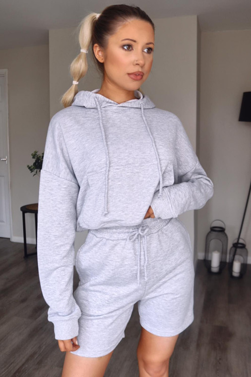 Grey Hoodie and Shorts Loungewear Set