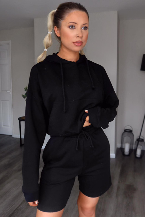 Black Hoodie and Shorts Loungewear Set