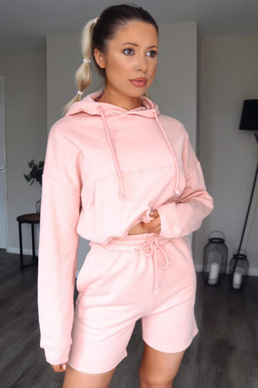 Pink Hoodie and Shorts Loungewear Set