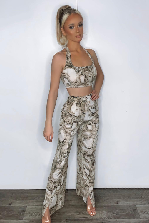 Beige Print Halter Strap Crop Top and Split Ankle Trouser Co-Ord