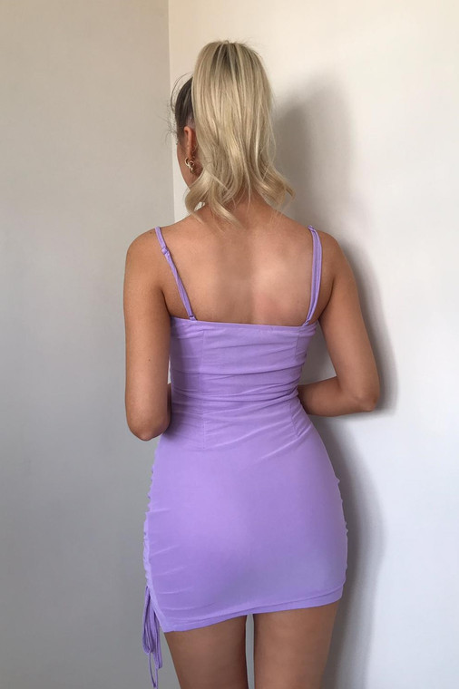 Lilac Ruched Mesh Strappy Mini Dress