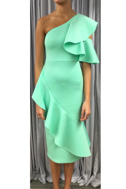 Neon Mint LA Scuba Asymmetric Ruffle Dress