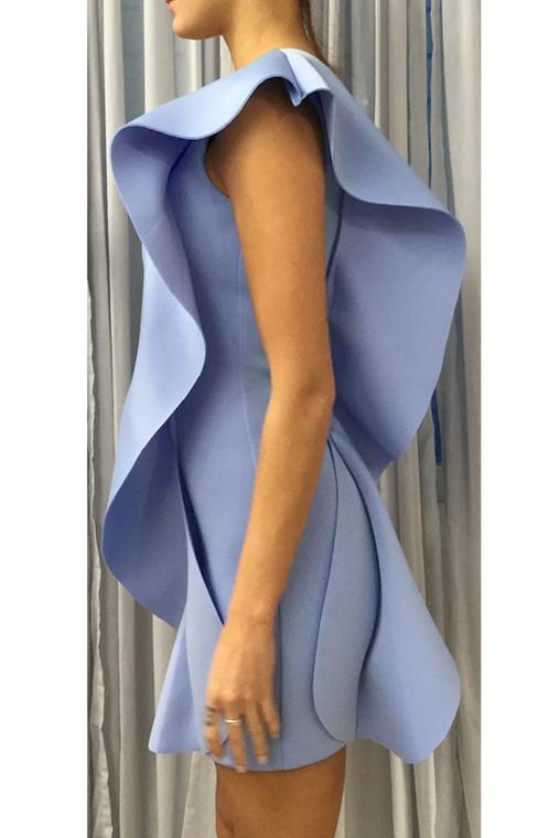 Dusty Blue LA Scuba One Shoulder Mini Dress