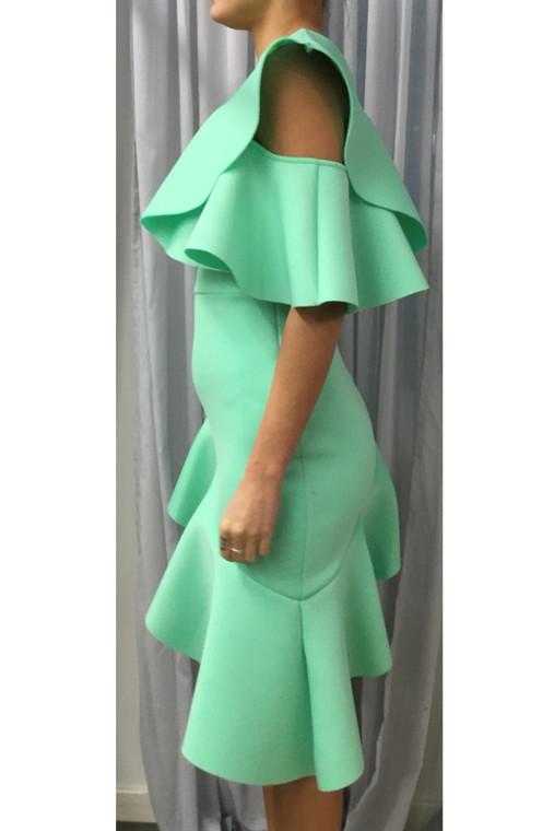 Plus Size Neon Mint LA Scuba Asymmetric Ruffle Dress