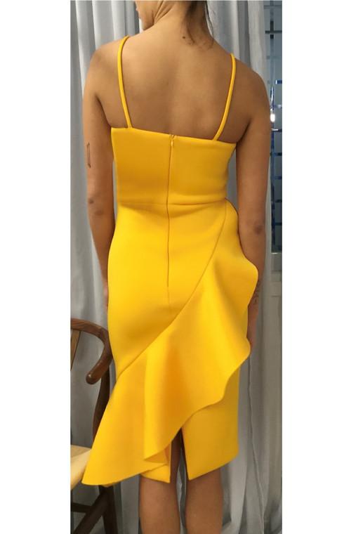 Plus Size Orange-Yellow LA Scuba Asymmetric Ruffle Strappy Dress