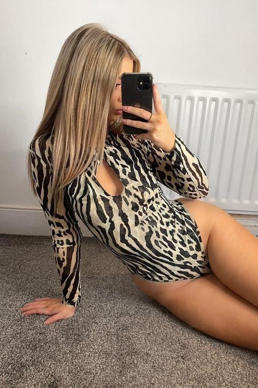 Zebra Print Twist Front Mesh Bodysuit