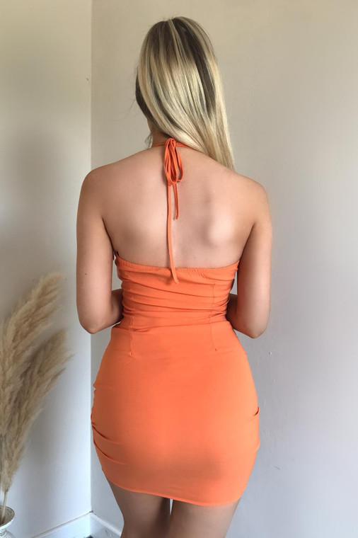 Orange Cut-Out Halter Strap Stretch Mini Dress
