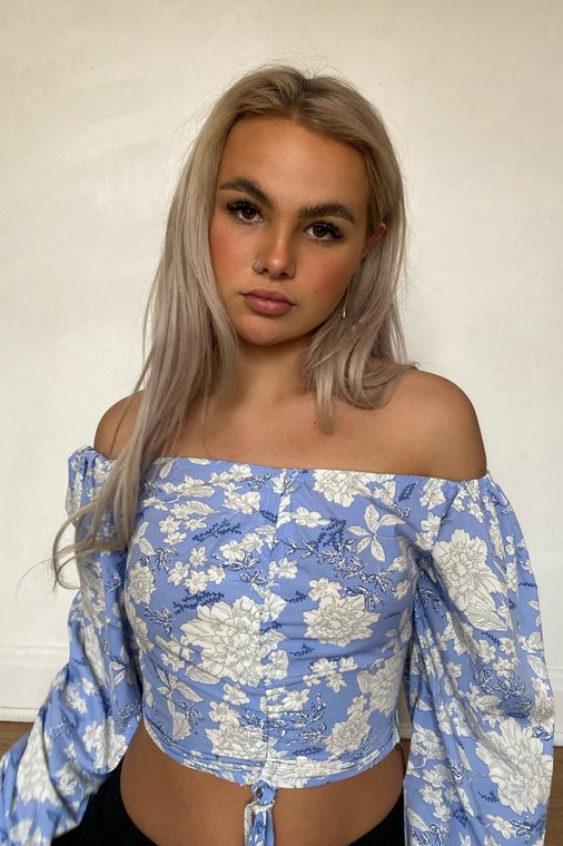 Blue Floral Long-Sleeve Ruched Front Crop Top