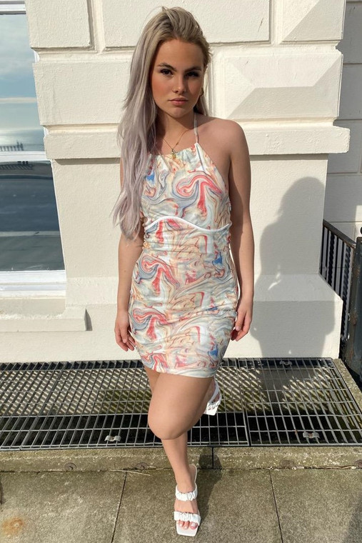 Stone Marble Tie-Halter Bodycon Mini Dress with Binding Detail