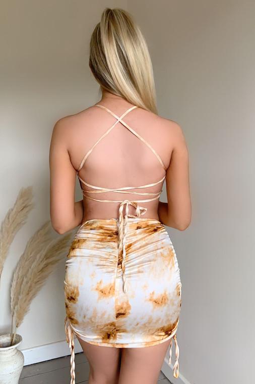 Gold Tie Dye Satin Lace Back Mini Dress