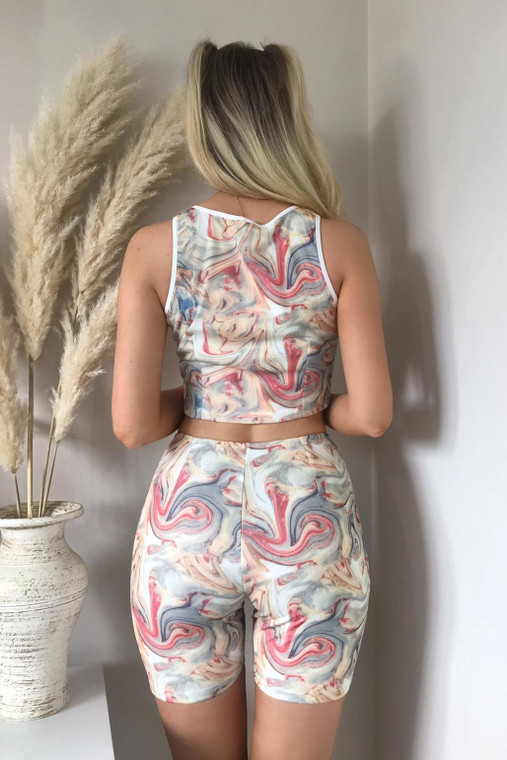 Stone Marble Print Top and Shorts Co-ord with Binding Detail