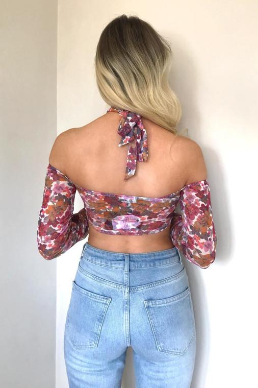 White Floral Cold-shoulder Halterneck Print Mesh Top