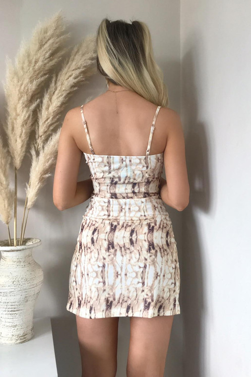 Stone Marble Mesh Strappy Mini Dress