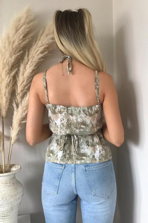 Sage Floral Wrap Cami Top