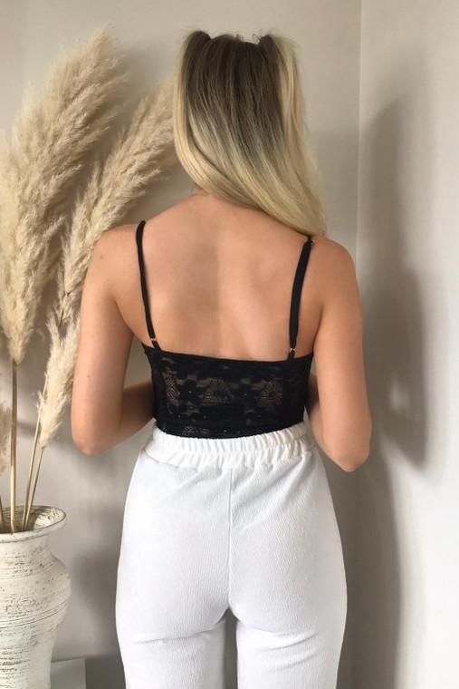 Black Lace Cut-Out Bodysuit