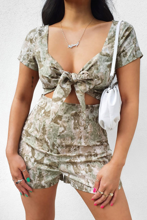 Sage Floral Print Tie Front Cut-Out Playsuit