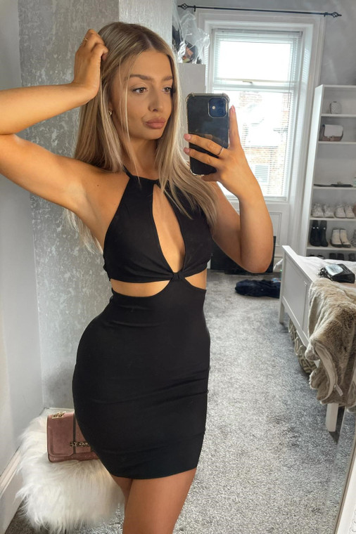 Black Halter-Neck Stretch Mini Dress with Cut-Outs
