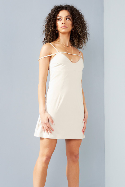Oat Linen Blend Strappy Mini Dress With Sweetheart Neck