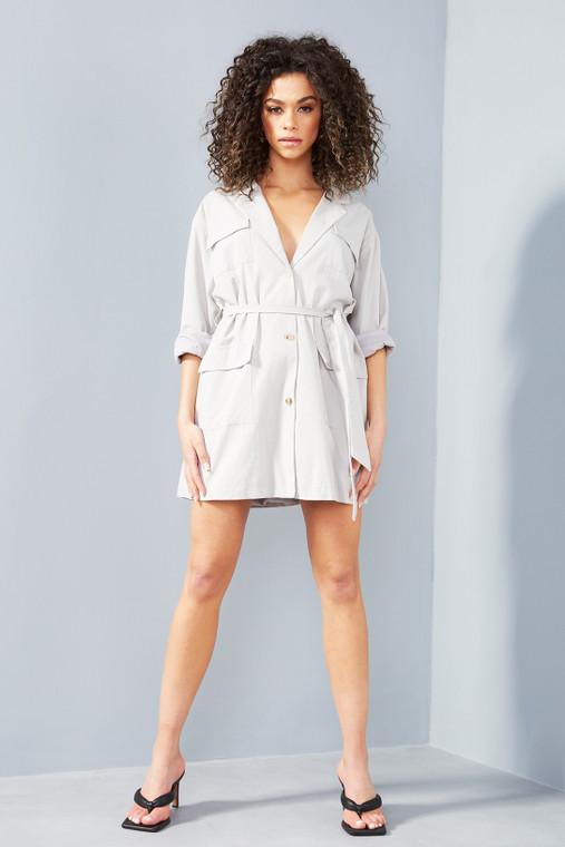 Pale Grey Linen Belted Long Sleeve Shirt Dress