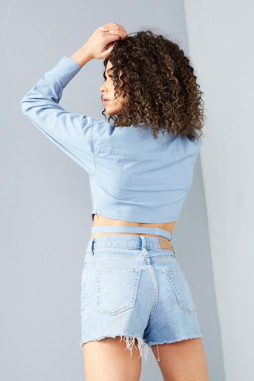 Powder Blue Boxy Linen Cropped Long Sleeve Shirt