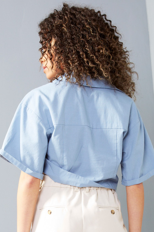 Powder Blue Linen Cropped Long Sleeve Shirt with Size Zip
