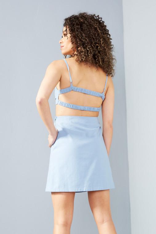 Powder Blue Linen Cut-Out Mini Dress