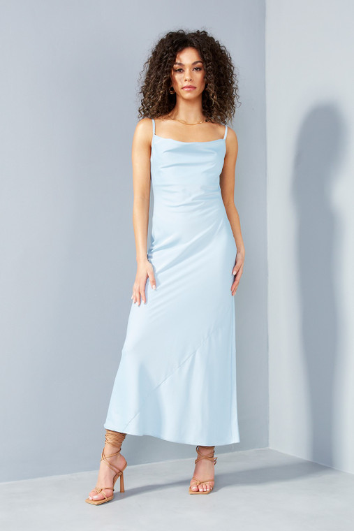 Powder Blue Satin Midi Dress