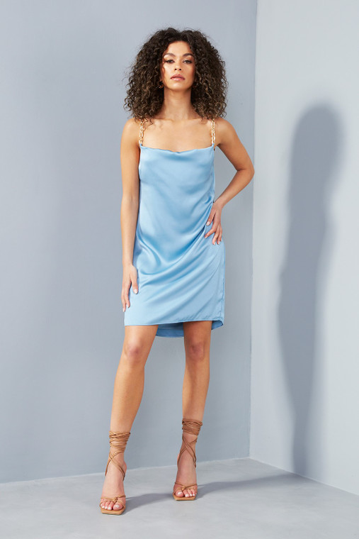 Blue Steel Satin Mini Dress with Gold Chain Straps