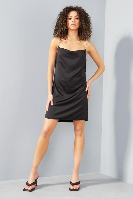 Black Satin Mini Dress with Gold Chain Straps