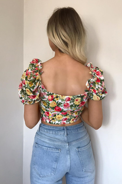 New White Floral Puff Sleeve Crop Top