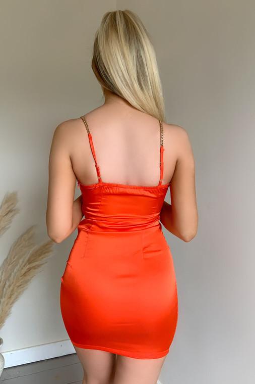 Orange Chain Strap V-Neck Satin Mini Dress