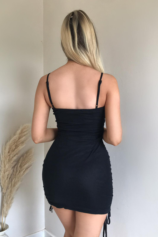 Black Ruched Mesh Strappy Mini Dress