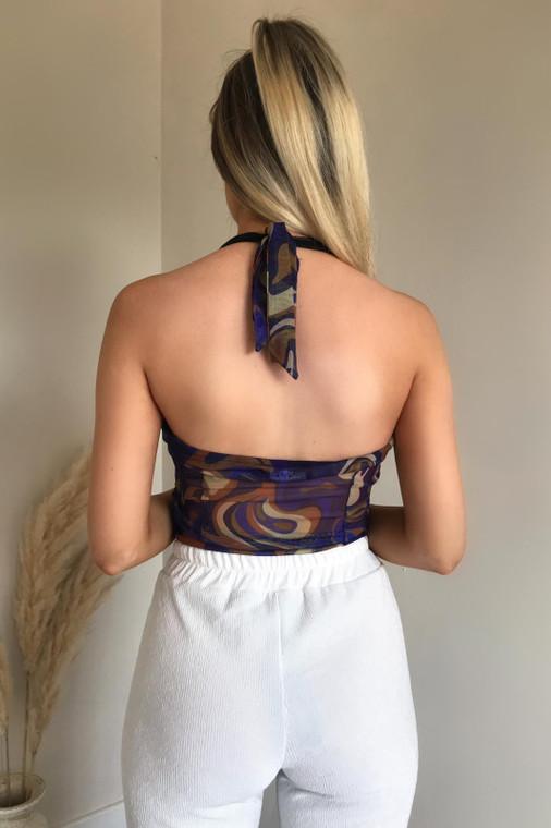 Indigo Print Tie Halterneck Ruched Mesh Bodysuit