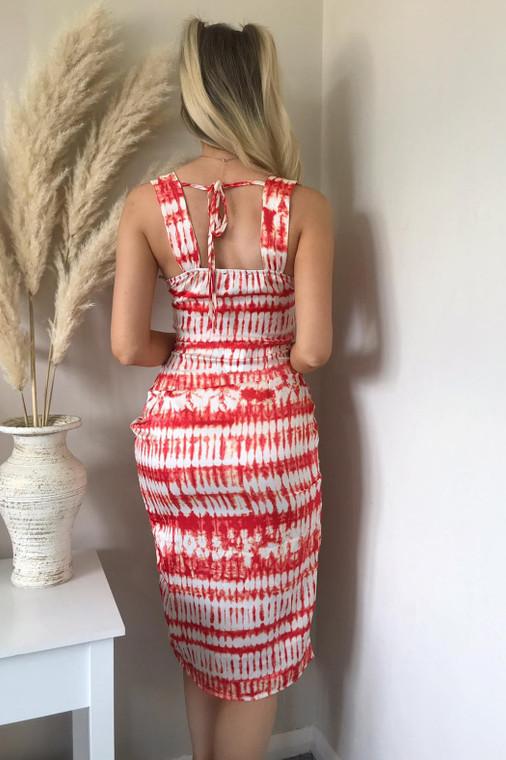 Red-White Sweetheart Satin Midi Dress