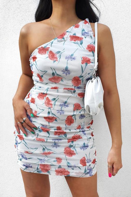 White Floral One Shoulder Ruched Mesh Mini Dress
