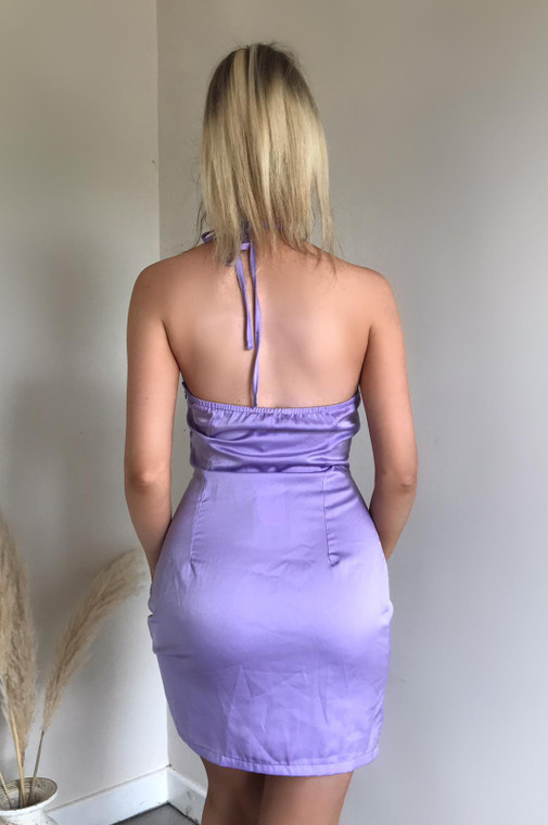 Lilac Satin Halterneck Mini Dress with Twist Front and Cut Out