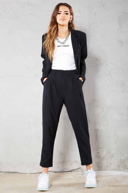 Black Premium Tapered Straight Leg Trousers with Pockets