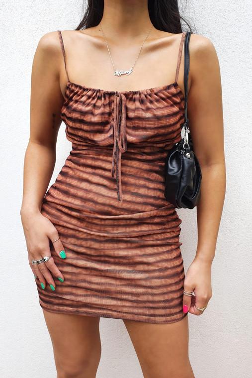 Chocolate Stripe Strappy Mesh Mini Dress