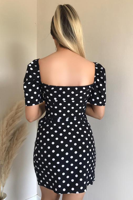 Black Polka Dot Puff Sleeve Stretch Mini Dress