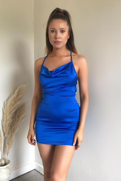 Cobalt Cowl Neck Satin Mini Dress