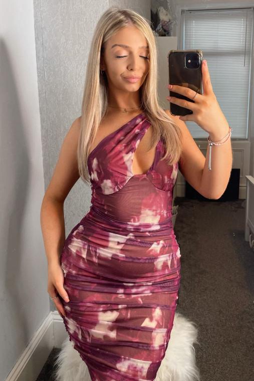Wine Print Asymmetric Shoulder Ruched Mesh Mini Dress