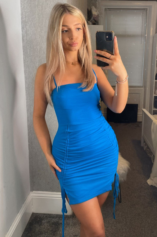 Blue Ruched Mesh Strappy Mini Dress